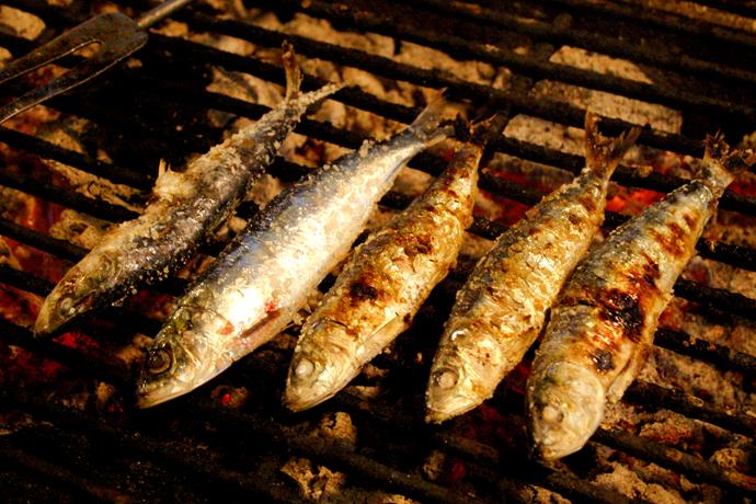 Chargrilled sardines.