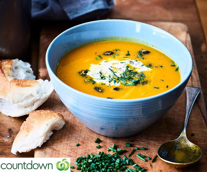 "[Mum's pumpkin soup with delicate flavours](https://www.foodtolove.co.nz/recipes/mums-pumpkin-soup-with-delicate-flavours-33606|target=""_blank"")"