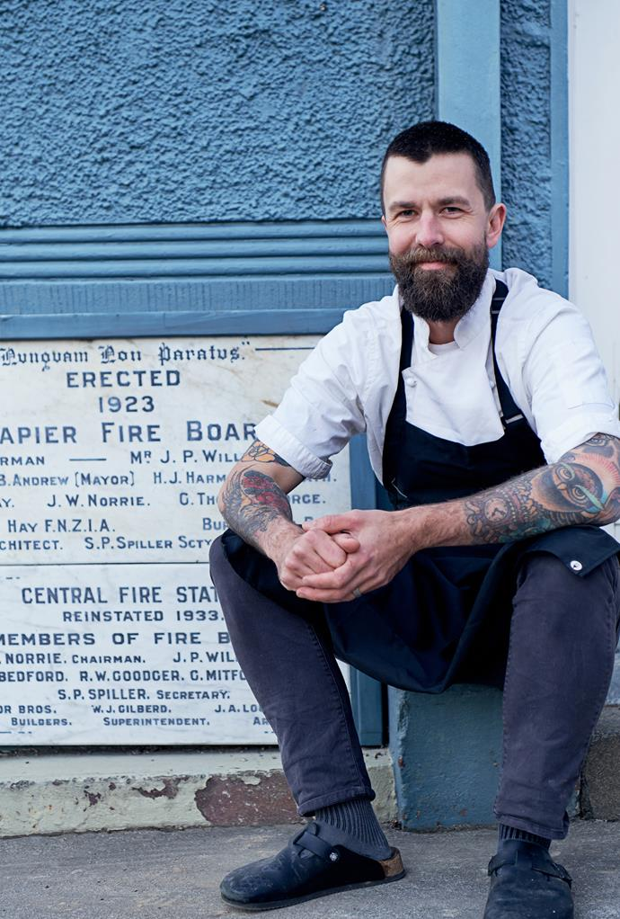 Chef Sam Clark outside the building for his new restaurant, Central Fire Station.