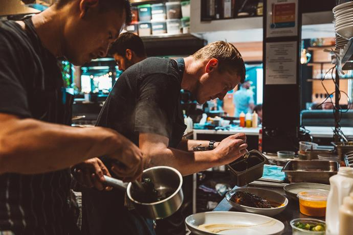 Sam's 'Wildfire' co-host, Regnar Christensen, at work in the kitchen.