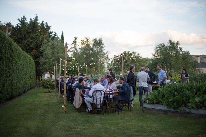 Guests enjoy a garden party at Craggy Range winery.