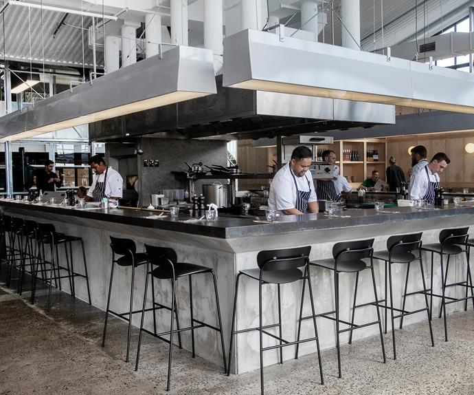 The open-plan kitchen at Ozone's Auckland eatery and roastery allows guests to see their meal being made from scratch.