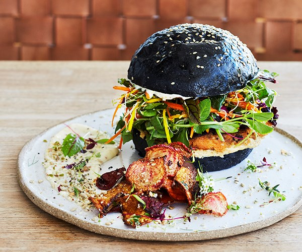 *Sweet-potato burger on a charcoal bun at Earth Walker & Co*