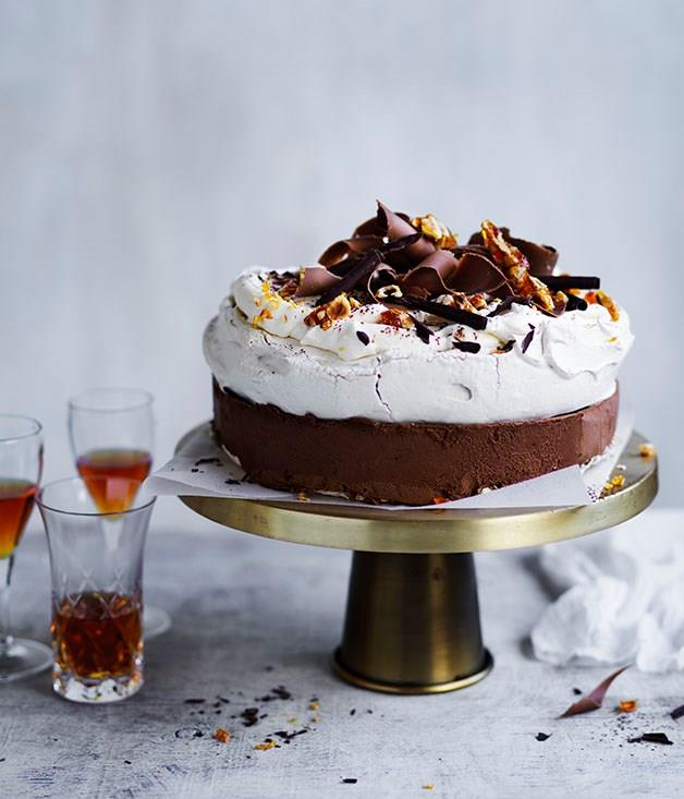 """[**Frozen, spiced chocolate pavlova**](https://www.gourmettraveller.com.au/recipes/browse-all/frozen-spiced-chocolate-pavlova-12954
