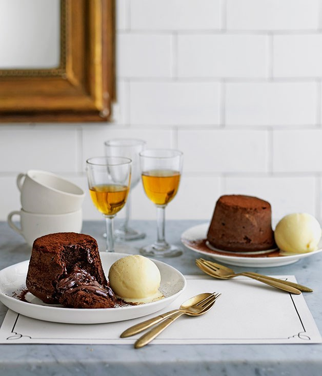"[**Chocolate moelleux**](https://www.gourmettraveller.com.au/recipes/chefs-recipes/chocolate-moelleux-9145|target=""_blank"") <br><br> These dark chocolate puddings with molten centres served with white chocolate ice cream are the ultimate death by chocolate recipe. We've recreated this recipe form Must Winebar to create warm, molten centred puddings that contrast deliciously to the cold homemade ice cream served alongside them."