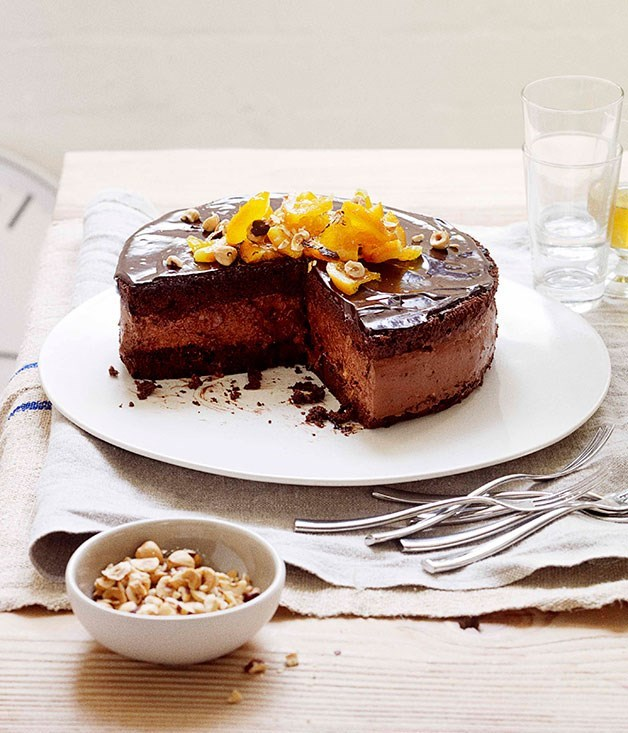 "[**Dark chocolate mousse cake**](https://www.gourmettraveller.com.au/recipes/browse-all/dark-chocolate-mousse-cake-11080|target=""_blank"") <br><br> This dark chocolate cake with chocolate mousse filling and orange- sherry soup is a gorgeous marriage between citrus and chocolate. The thick, creamy mousse is beautifully offset by the chocolate cake sandwich and the chewy orange, hazelnuts and chocolate ganache."