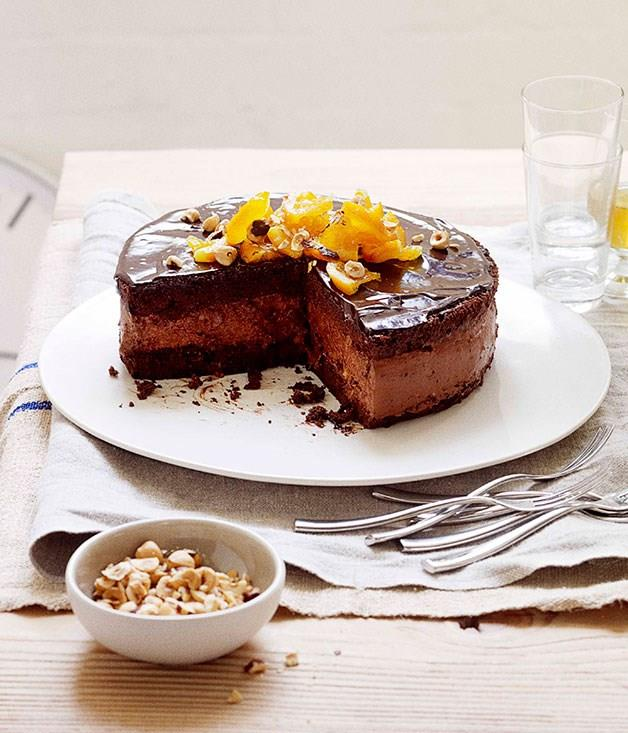 """[**Dark chocolate mousse cake**](https://www.gourmettraveller.com.au/recipes/browse-all/dark-chocolate-mousse-cake-11080