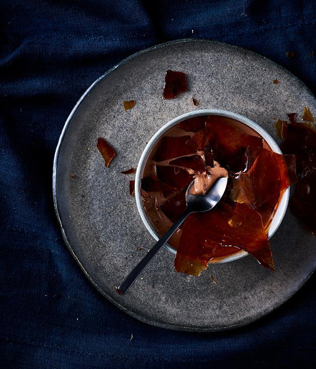 """[**Chocolate crémeaux with caramel**](https://www.gourmettraveller.com.au/recipes/browse-all/chocolate-cremeux-with-caramel-12752