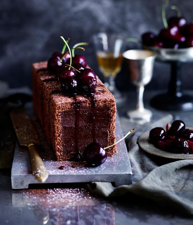 "[**Chocolate-cherry marquise**](https://www.gourmettraveller.com.au/recipes/browse-all/chocolate-cherry-marquise-12393|target=""_blank"") <br><br> The classic chocolate and cherries combo is perfect for this rich marquise. Boozy cherries scattered in a dark chocolate mixture inside a chocolate sponge is set in the fridge overnight and served the next day with a dollop of crème fraîche."