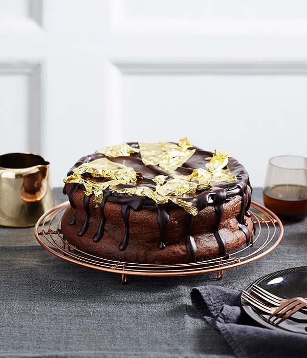 "[**Rich chocolate mousse cake**](https://www.gourmettraveller.com.au/recipes/browse-all/rich-chocolate-mousse-cake-14003|target=""_blank"") <br><br> Take a chocolate cake to the next level with a rich dark dessert chocolate for the mousse cake and more for the chocolate ganache. Serve with gold leaves and crème fraîche for a decadent finish."