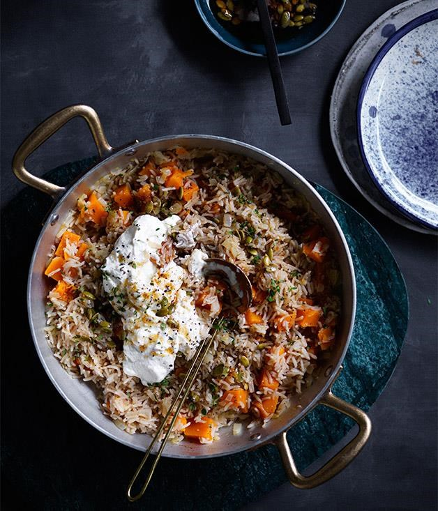 "[**Pumpkin pilaf with ricotta and pepitas**](https://www.gourmettraveller.com.au/recipes/fast-recipes/pumpkin-pilaf-with-ricotta-and-pepitas-13804|target=""_blank"") <br><br> This recipe is the perfect one pot wonder for autumn. With subtle garlic and thyme, the rice and pumpkin work together masterfully in this delightful, vegetarian friendly dish.  While the lemon infused ricotta adds a great complexity of textures to this well rounded dish."