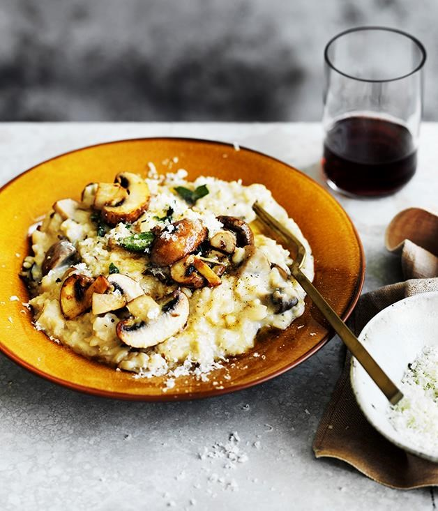 "[**Mushroom and mascarpone risotto**](https://www.gourmettraveller.com.au/recipes/fast-recipes/mushroom-and-mascarpone-risotto-13718|target=""_blank"") <br><br> Swiss brown and porcini mushrooms are enhanced by parmesan, mascarpone and sage in this easy risotto recipe. The white wine and stock made from the porcini mushrooms make this recipe a rich, creamy and subtly flavoured risotto perfect for those autumn nights."