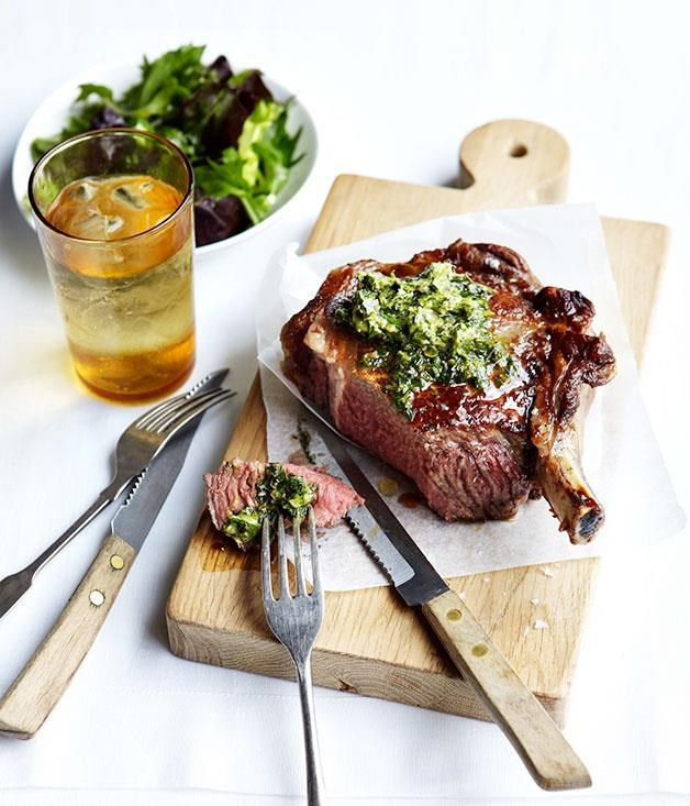 "[**Grilled rib-eye with anchovy and caper butter**](https://www.gourmettraveller.com.au/recipes/fast-recipes/grilled-rib-eye-with-anchovy-and-caper-butter-13250|target=""_blank"") <br><br> This dish is super quick and super tasty; don't be shy with the butter."