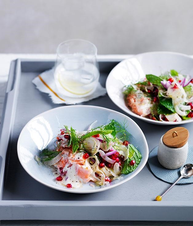 "[**Fish with tahini sauce, pomegranate and fennel**](https://www.gourmettraveller.com.au/recipes/fast-recipes/fish-with-tahini-sauce-pomegranate-and-fennel-13695|target=""_blank"") <br><br> This pan fried ocean trout is complemented by a light, easy and fresh salad and dressing, perfect for any season. The red nuggets of seasonal pomegranate complement the creamy lemon and tahini sauce while the crisp fennel salad adds a zesty crunch."
