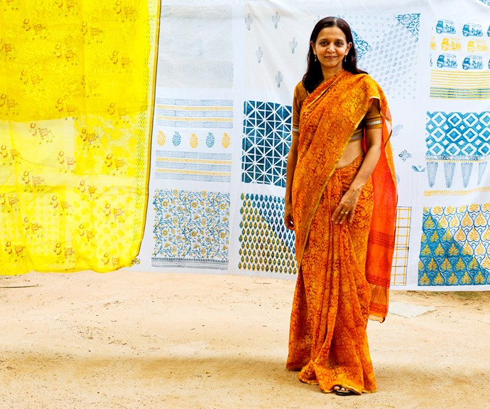 *Padmini Govind of Tharangini block-printers. Photo by Clare Arni.*
