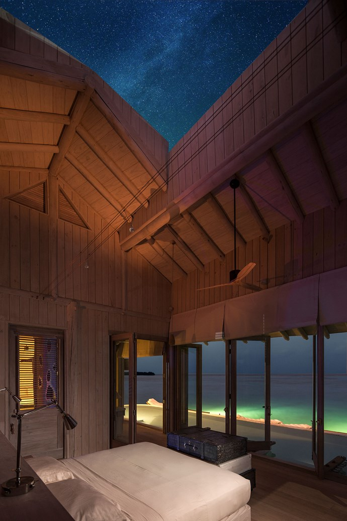 Watch the stars from the master suite at Soneva Jani.
