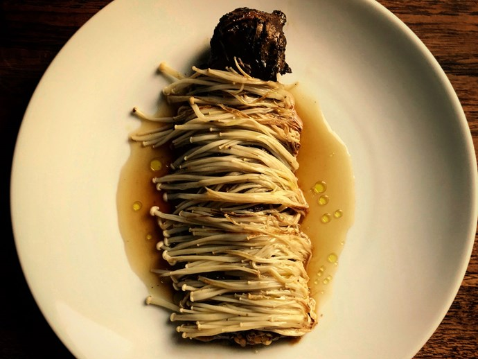 "**Eggplant, wattleseed and enoki, [Ester, Sydney](http://www.gourmettraveller.com.au/dining-out/restaurant-reviews/ester-6788|target=""_blank"")** <br><br>  The Japanese classic nasu dengaku gets a local twist when Mat Lindsay throws eggplants into the flames of the Ester oven, then peels them and marinates them in wattleseed and miso, drapes them in enoki, warms them up in a gentler corner of the oven and sauces them with a kombu and smoked-potato-skin dashi.  *46-52 Meagher St, Chippendale, NSW, (02) 8068 8279.*"