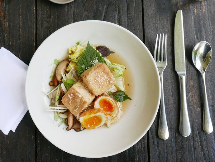 "**Silken tofu, fried egg, mushrooms, [St Isidore, Milton](http://www.gourmettraveller.com.au/dining-out/restaurant-reviews/st-isidore-7010|target=""_blank"")**<br><br>  Eggs and tofu make fine bedfellows. That goes double when the tofu is silken, fried in a rice-flour coating, and sprinkled with sesame salt, and the eggs are double-cooked, crisp on the outside and honeyed of yolk. Set them on a smoked shiitake broth with some mushrooms and a charred frond of wombok for a real party of rich texture and flavour.  *89 Croobyar Rd, Milton, NSW, (02) 4455 7261.*"