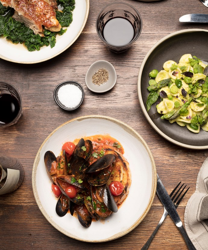 *Wood-fired pork shoulder, orecchiette mussels with charred sourdough at Lupo*