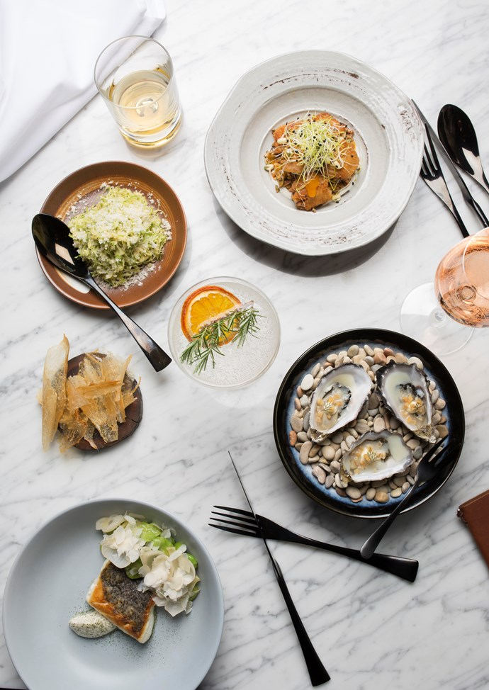 *(clockwise from top) Boned chicken wings, oysters with smoked pork fat, blue-eye with broad beans, sour onion and shaved almonds, crisp chicken skin with gherkin salt, shaved sprouts with macadamia, at the North Room.*