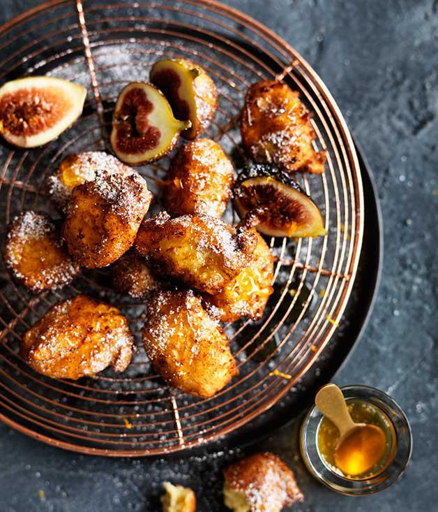 "[**Ricotta fritters with honey and figs**](https://www.gourmettraveller.com.au/recipes/fast-recipes/ricotta-fritters-with-honey-and-figs-13708|target=""_blank"")"
