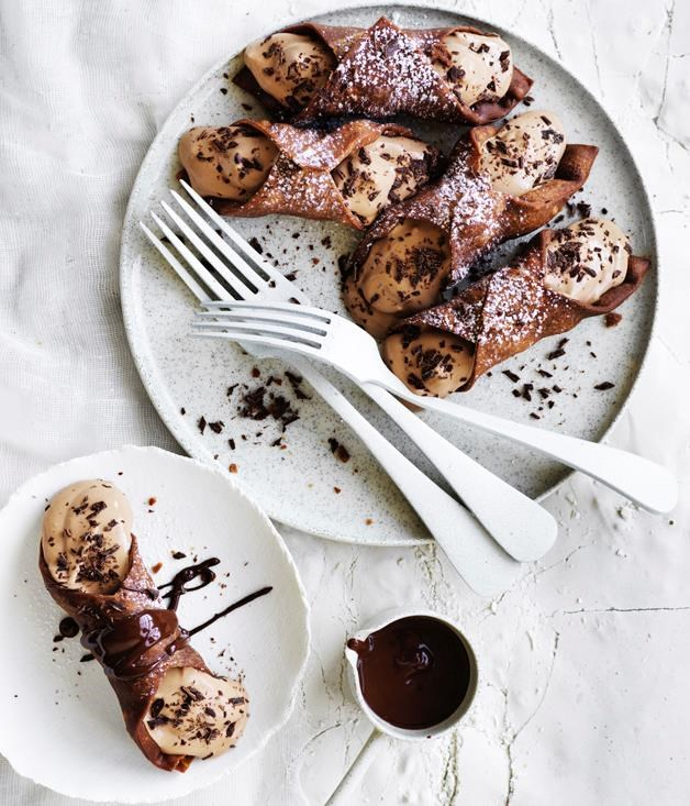 "[**Chocolate cannoli**](https://www.gourmettraveller.com.au/recipes/browse-all/chocolate-cannoli-12902|target=""_blank"") <br><br> How much chocolate is too much? At this time of year, there's no such thing in our opinion. We've doubled-down on the indulgence here, opting for a chocolate shell and chocolate ricotta filling. Just try and stop at one."