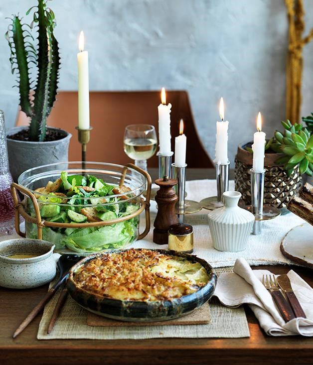 "[**Potato gratin with parmesan crumb**](https://www.gourmettraveller.com.au/recipes/browse-all/potato-gratin-with-parmesan-crumb-12615|target=""_blank"") <br><br> Potato gratin is a classic that defies trends. Here, we've added smoky bacon, parmesan and sourdough crumbs to up the savoury goodness."