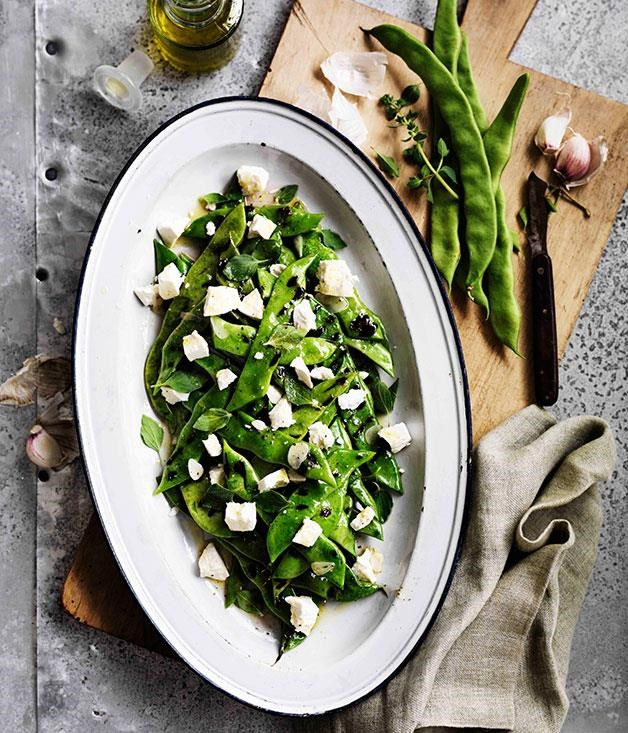 "[**Roman beans, ricotta salata and oregano**](https://www.gourmettraveller.com.au/recipes/browse-all/roman-beans-ricotta-salata-and-oregano-11613|target=""_blank"") <br><br> This super-simple salad makes a hero of a single ingredient, Roman beans, which are grilled before being tossed with a lemon-garlic dressing and ricotta salata."