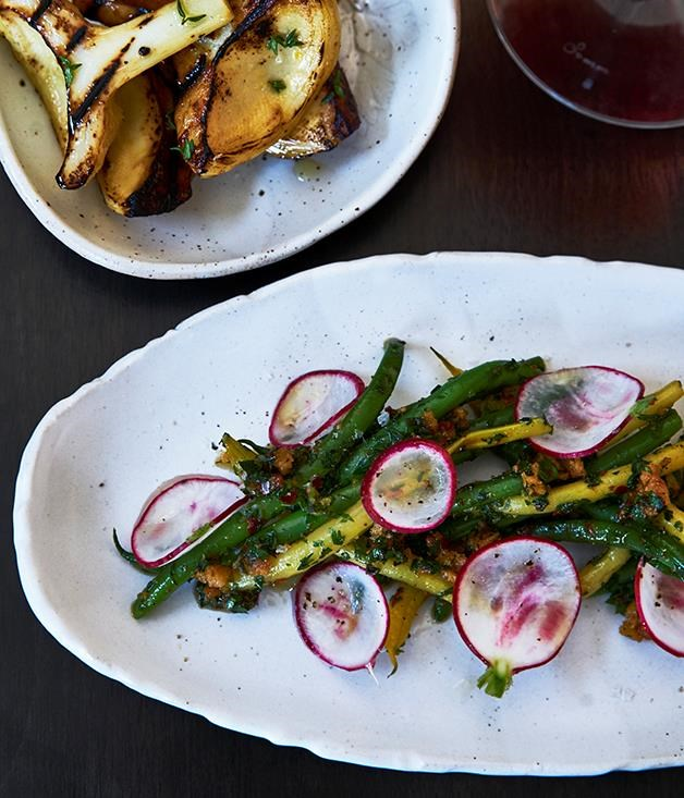 "[**Green beans and radishes**](https://www.gourmettraveller.com.au/recipes/chefs-recipes/green-beans-and-radishes-8486|target=""_blank"") <br><br> This quick side dish is little more than some lightly blanched beans and fresh radish topped with chimichurri and breadcrumbs, but the combination is one to remember."