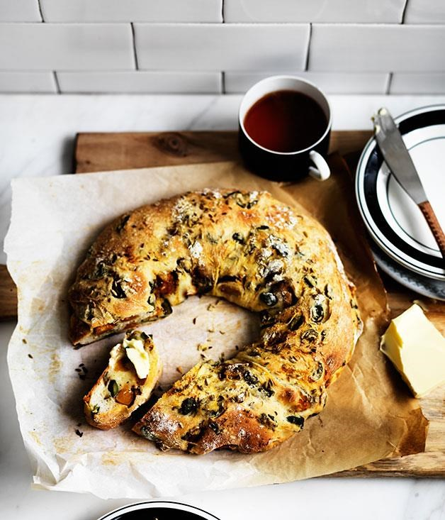 "[**Pumpkin, fennel and olive ring loaf**](https://www.gourmettraveller.com.au/recipes/browse-all/pumpkin-fennel-and-olive-ring-loaf-12325|target=""_blank"") <br><br> Complement roast meats and hearty salads with this wonderfully savoury loaf that brings together the complementary flavours of pumpkin and olive."