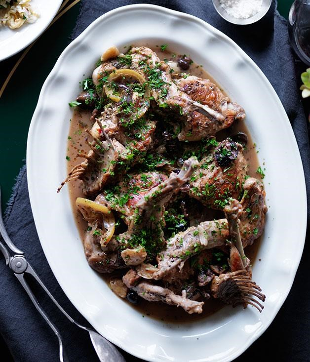 "[**Braised rabbit with sauce pearà**](https://www.gourmettraveller.com.au/recipes/chefs-recipes/braised-rabbit-with-sauce-peara-8243|target=""_blank"") <br><br> Originally from Verona, in the north of Italy, this bread and bone marrow sauce is delicious when paired with rabbit and makes for a hearty addition to an autumnal table."