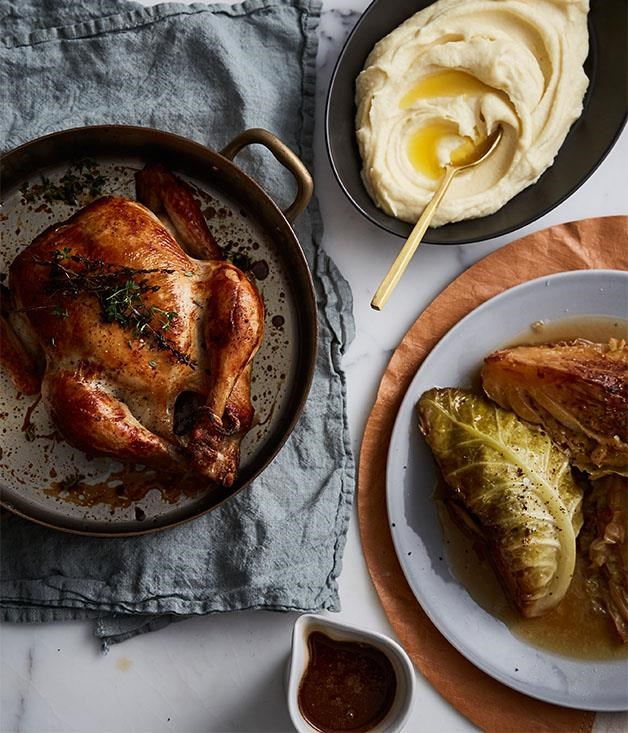 "[**Epocha's roast chicken, braised savoy cabbage, prune and butter sauce**](https://www.gourmettraveller.com.au/recipes/chefs-recipes/epochas-roast-chicken-braised-savoy-cabbage-prune-and-butter-sauce-9320|target=""_blank"") <br><br> Cooking for a crowd  and short on time? This roast chicken recipe is so easy you'll have time to enjoy a glass of Champagne (or two) before your guests arrive."