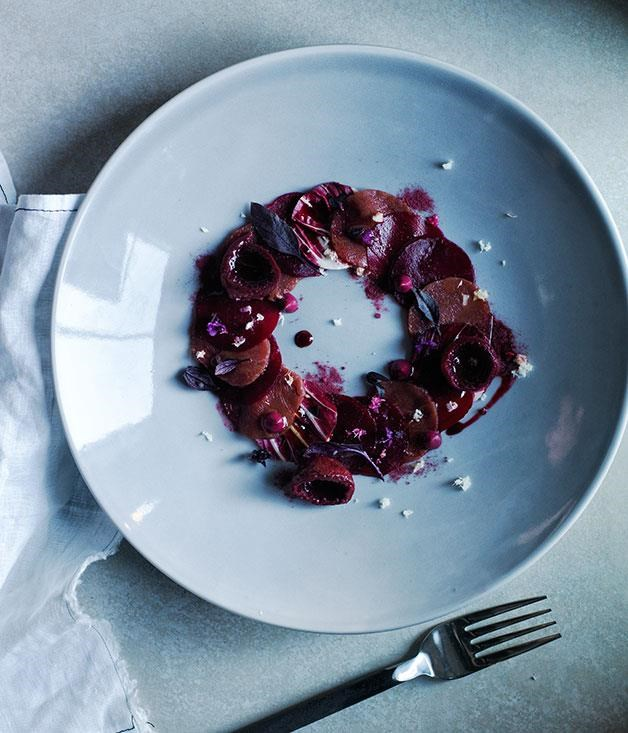 "[**Carpaccio of kangaroo with beetroot and native fruits**](https://www.gourmettraveller.com.au/recipes/chefs-recipes/carpaccio-of-kangaroo-with-beetroot-and-native-fruits-8320|target=""_blank"") <br><br> This plate is a stunning preparation of ingredients with a similar hue yet remarkably different flavour, bringing together sweet, sour and savoury notes."