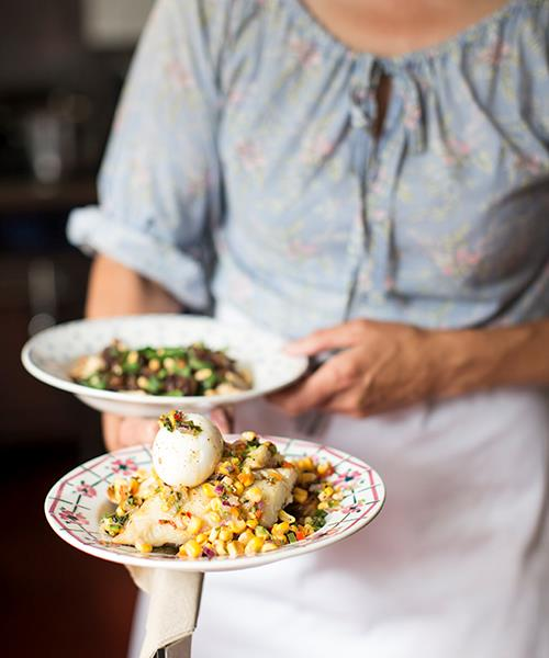 *Roast smoked haddock with sweetcorn salsa and soft-boiled egg at Towpath.*