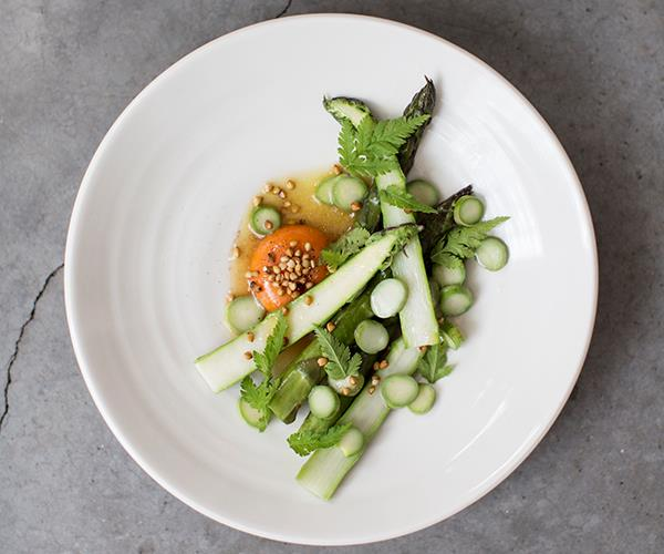 *Asparagus, chicken vinaigrette, buckwheat and Burford Brown egg at Lyle's.*