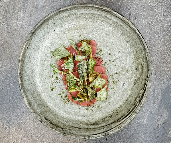 *Pickled wagyu beef tongue, fermented saltbush, muntrie relish, pepperberry*