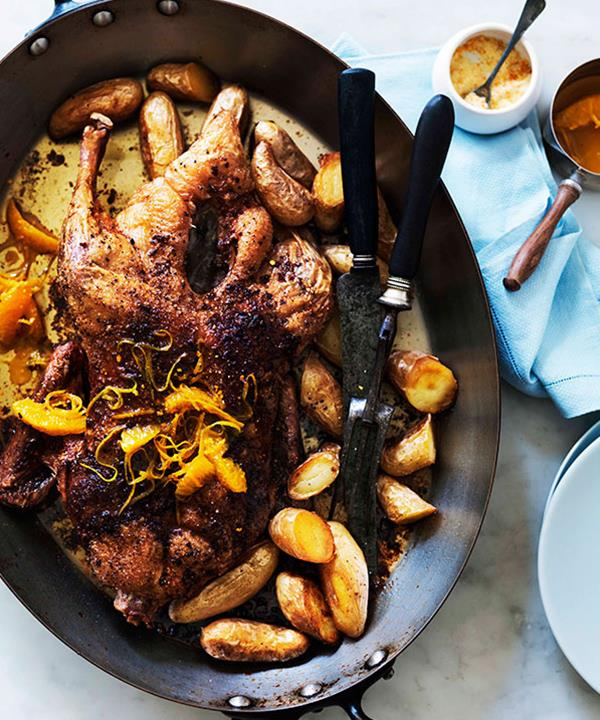 """Recipe: [Slow-roast duck with orange](https://www.gourmettraveller.com.au/recipes/browse-all/slow-roast-duck-with-orange-11343