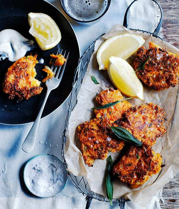 "[Carrot, pecorino and sage fritters](https://www.gourmettraveller.com.au/recipes/browse-all/carrot-pecorino-and-sage-fritters-12224|target=""_blank"") <br> Brighten up Meatless Monday with these warm carrot and pecorino fritters. Swap the sage for dill, mint or even coriander for unusual flavour combinations."