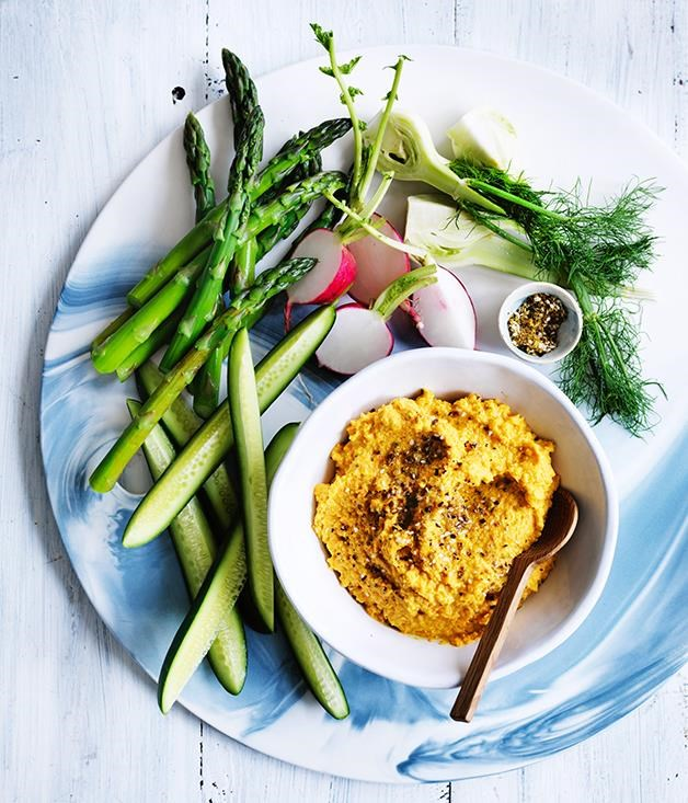 "[Carrot and almond hummus](https://www.gourmettraveller.com.au/recipes/fast-recipes/carrot-and-almond-hummus-13788|target=""_blank"") <br> Ditch the chips at your next party for this sunshine-coloured carrot hummus. You can make this up to a week in advance allowing you more time with your guests."