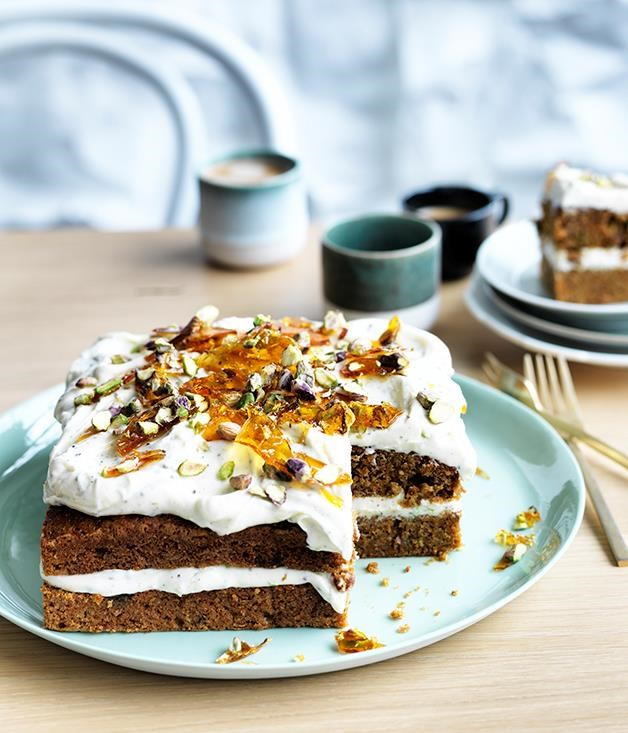 "[Shirni Parwana's masala carrot cake](https://www.gourmettraveller.com.au/recipes/chefs-recipes/shirni-parwanas-masala-carrot-cake-9280|target=""_blank"") <br> Give your carrot cake an exotic flair with Shirni Parwana's version that packs in pistachios, sultanas and cardamom."