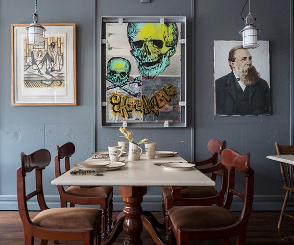 Jeux de Dames V by Bernard Buffet, Unbreakable by David Bromley and a painting of the Russian School (artist unknown) in a dining room.