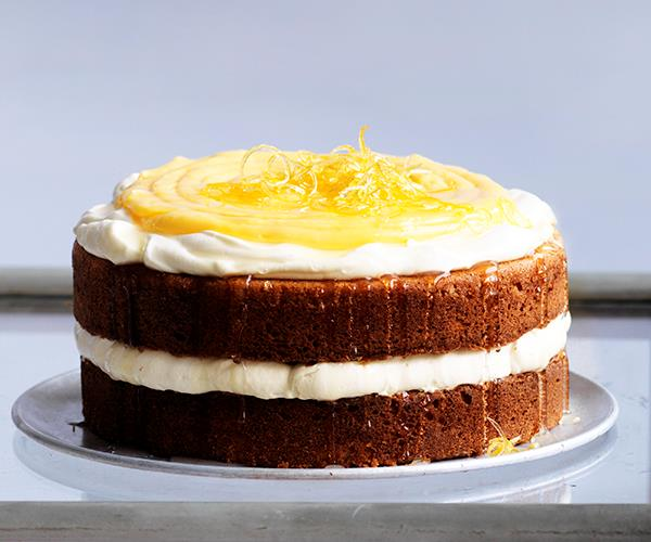 """**[Lemon curd sponge cake](https://www.gourmettraveller.com.au/recipes/browse-all/lemon-curd-sponge-cake-12672