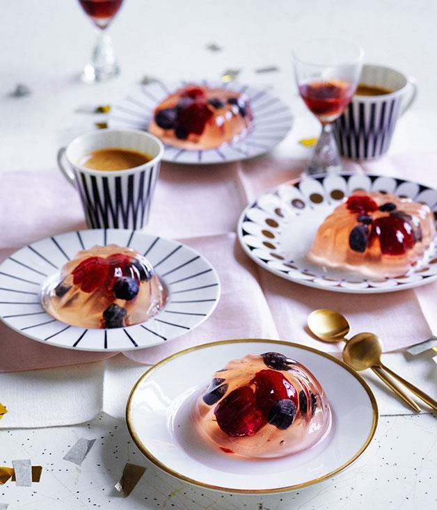 """**[Elderflower, Champagne and berry jellies](https://www.gourmettraveller.com.au/recipes/browse-all/elderflower-champagne-and-berry-jellies-12671 target=""""_blank"""")** <br> Have some fun with these very British jellies by making them in a variety of moulds. Between the Champagne, elderflower liqueur and moscato, your guests are sure to enjoy themselves."""