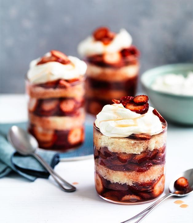 "**[Strawberry, elderflower and brioche summer puddings](https://www.gourmettraveller.com.au/recipes/chefs-recipes/curtis-stones-strawberry-elderflower-and-brioche-summer-puddings-8552|target=""_blank"")** <br> These layered puddings by Curtis Stone are a light and refreshing summer dessert that also add a touch of beauty to the table."