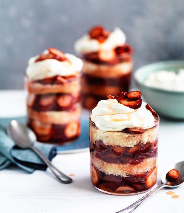 """**[Strawberry, elderflower and brioche summer puddings](https://www.gourmettraveller.com.au/recipes/chefs-recipes/curtis-stones-strawberry-elderflower-and-brioche-summer-puddings-8552