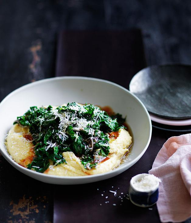 "**[Braised kale with mascarpone polenta](https://www.gourmettraveller.com.au/recipes/fast-recipes/braised-kale-with-mascarpone-polenta-13621|target=""_blank""