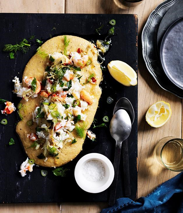 **[Soft polenta with crab, chilli, lemon and fennel] (https://www.gourmettraveller.com.au/recipes/browse-all/soft-polenta-with-crab-chilli-lemon-and-fennel-12538)**