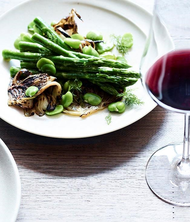 """[**Grilled fennel and asparagus salad**](https://www.gourmettraveller.com.au/recipes/chefs-recipes/grilled-fennel-and-asparagus-salad-8628 target=""""_blank"""")"""