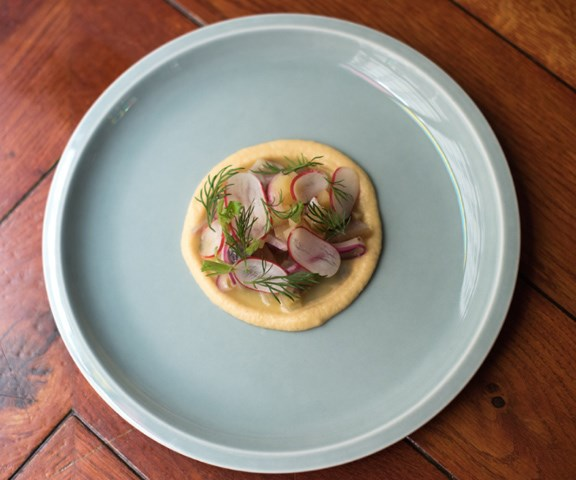 Smoked herring, sweed purée, pickled quince and radish at Le Mary Celeste