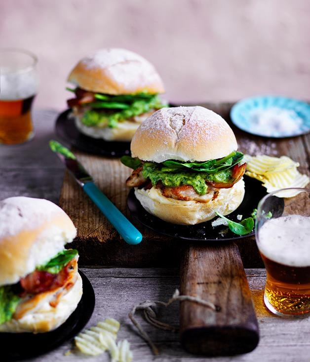 "[**Chicken, bacon and avocado burger**](https://www.gourmettraveller.com.au/recipes/browse-all/chicken-bacon-and-avocado-burger-12685|target=""_blank"")"